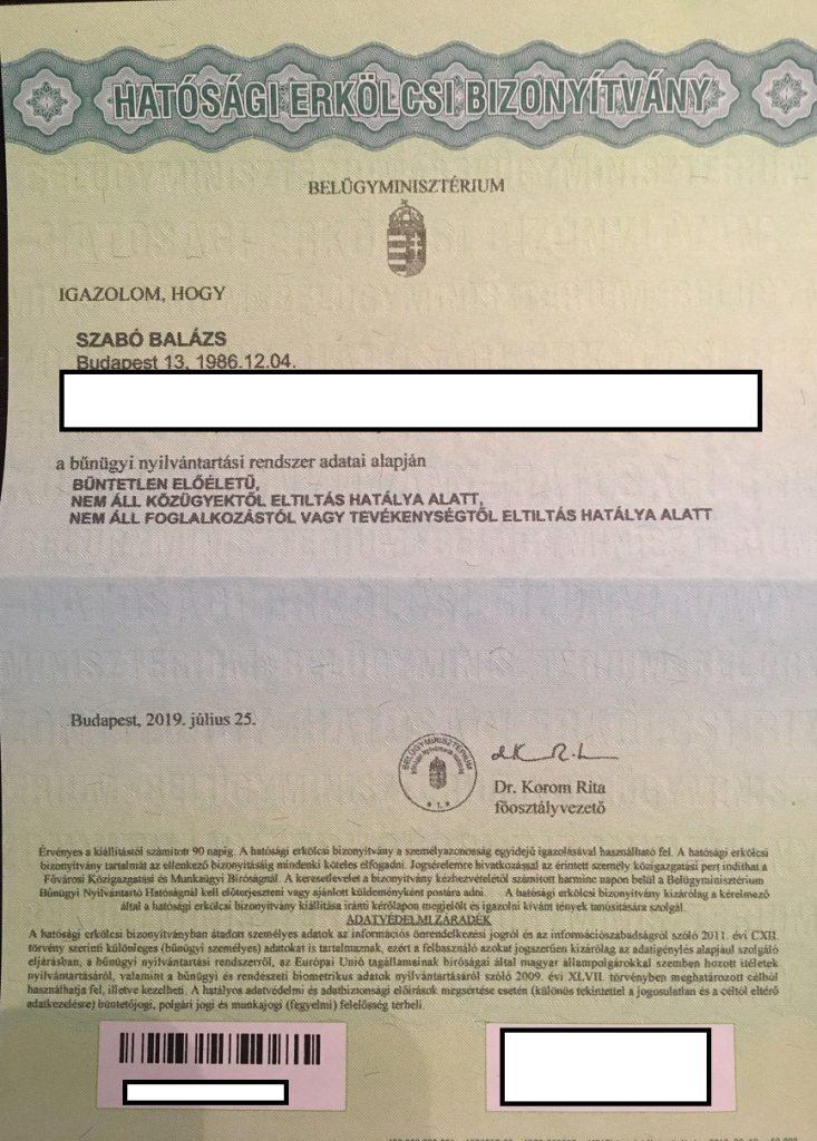 Szabó Balázs erkölcsi bizonyítványa