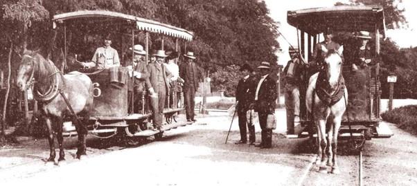 Lóvasút Újpesten utasokkal